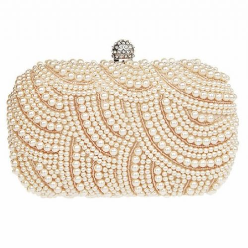 Champagne pearl bridal clutch bag, wedding clutch bag, evening bag